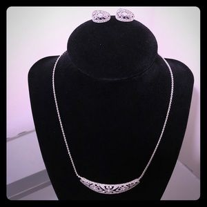 Cubic Zirconia Necklace and Earrings